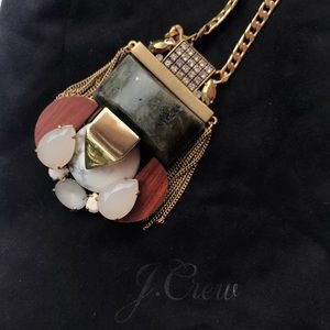 J Crew wood and stone statement necklace NWT